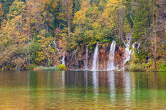 Autum colors and waterfalls of Plitvice National Park. In Croatia Stock Image