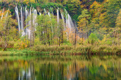 Autum colors and waterfalls of Plitvice National Park. In Croatia Stock Photography