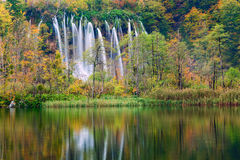 Autum colors and waterfalls of Plitvice National Park. In Croatia Stock Images
