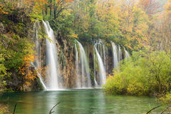 Autum colors and waterfalls of Plitvice National Park. In Croatia Royalty Free Stock Photography