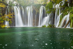 Autum colors and waterfalls of Plitvice National Park. In Croatia Stock Photo