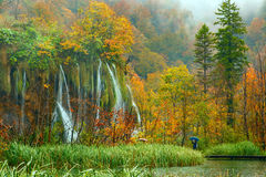 Autum colors and waterfalls of Plitvice National Park Stock Image