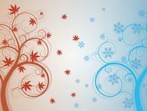 Autum ed albero di inverno Immagine Stock Libera da Diritti