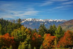 Autum landscap in Bran, in front of Piatra Craiului mountain Brasov, Romania. Beautiful Autumn landscape from Transylvania, Bran, Romania Stock Image