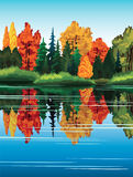 Autum landscape with forest and lake. Royalty Free Stock Images