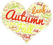 Autum miłość: Kolorowy serce Kształtujący etykietki chmury tło Obraz Stock