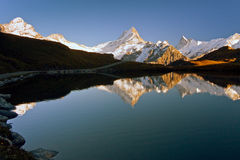 Autum in Swiss Bachalpensee Royalty Free Stock Photos