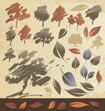Autum trees and leaves. Set of hand drawing autumn trees and leaves Stock Photography