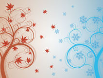Autum and winter tree Royalty Free Stock Image