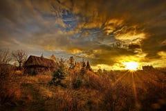 Autumlandschap in Zemelen, Transsylvanië, Brasov, Roemenië op de heuvels Royalty-vrije Stock Fotografie