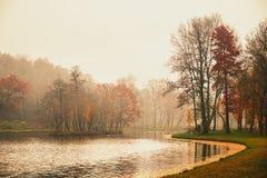 Autumn湖在公园 库存图片