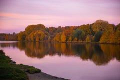 Autumn湖在森林里 库存照片