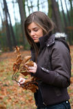 Autumn 1. Young girl walking in the forest Stock Photos