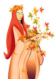 Autumn. Young woman with leaves in the hands, color illustration Royalty Free Stock Photography