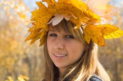 Autumn. The girl in a wreath from autumn leaves royalty free stock photo