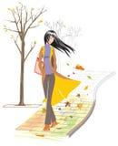 Autumn. Beautiful autumn season and romantic girl Stock Image