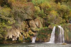 Autumn. Travertines near the waterfalls in a natioanal park in Croatia royalty free stock image