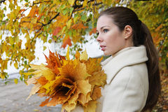 Autumn. Portrait of the girl with autumn leaves Stock Photos