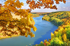Autumn. The river flows among wood against the blue sky Royalty Free Stock Images
