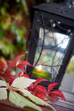 Autumn. Lantern on the table with some autumn color leaves around Royalty Free Stock Photos