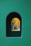 Autumn. View through the window stock photos