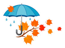 Autumn. Composition, umbrella and yellow leaves stock illustration