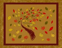 Autumn. Stylized tree with falling leaves stock illustration