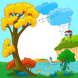 Autumn. Season frame with lake Vector Illustration