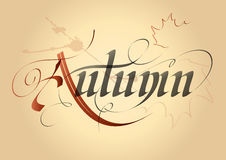 Autumn. Word autumn, written in Gothic letters on the old paper royalty free illustration