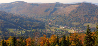 Autumn. The mountain autumn landscape with colorful forest royalty free stock photo