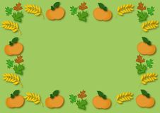Autumn. Pumpkin and leaf in  illustration Royalty Free Stock Image