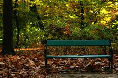 Autumn. A bench in the park, in autumn Royalty Free Stock Photos