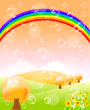 Autumn. Illustration of autumn with a rainbow bubble Vector Illustration