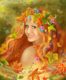 Fantasy Beautiful fairy woman Autumn Royalty Free Stock Photos