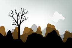 Autumn. Landscape, tree silhouette on abstract stylish scenery Stock Photography