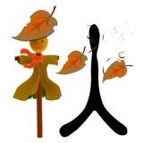 Autumn. 秋, Autumn in Chinese wording, Vector, illustrator Stock Photos