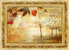 Autumn. Golden autumn - painting in gilded frame Stock Images