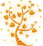 Autumn. Tree with butterflies, vector illustration Royalty Free Stock Images