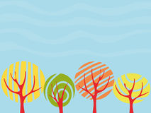 Autumn. Background with colored autumn trees, vector illustration Stock Images