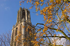 Autumn. The tallest church tower of The Netherlands. The Domtoren in Utrecht is 112,32 meters Royalty Free Stock Photo