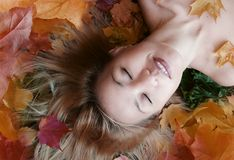 Autumn. Beautiful girl with blond hair on the autumns leafs stock photo