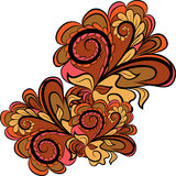 Autumn Abstract Background. Abstract orange-brown floral element for design in folk motif vector illustration