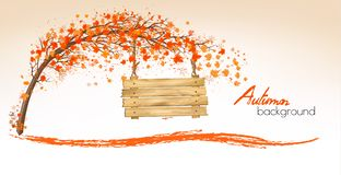 Autumn abstract background with a tree and a wooden sign. Vector vector illustration