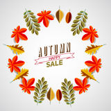 Autumn abstract floral background circle made from minimalist Stock Photo
