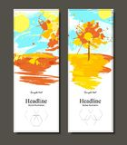 Autumn abstract landscape forming by blots. Two autumn banners with colorful paints.  stock illustration
