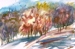 Free Autumn Abstract Landscape, Watercolor Painting. Stock Image - 191345561