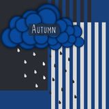 Autumn. Abstract striped background with blue cloud and rain Stock Image