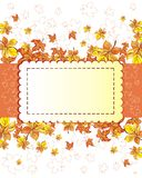 Autumn abstract vector background. Orange leaves. Maple and  chestnut leaves frame with space for your text Royalty Free Stock Photo
