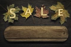 Autumn ad sale with wooden sign for words and inscriptions and b Royalty Free Stock Photos