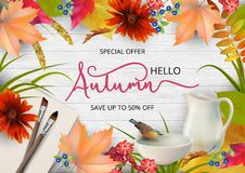 Autumn Advertising Banner. Vector composition with a pitcher and bird drinking water from a pottery bowl, brush and sheets of paper stock illustration